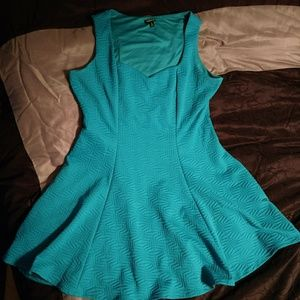 Teal textured skater dress